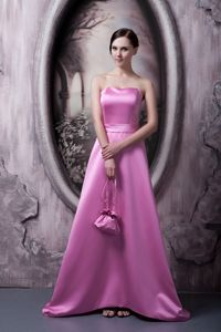 Special Rose Pink A-line Formal Prom Dresses with Brush Train in Barrow