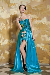 Blue Empire Floor-length Prom Outfits with Beading and Ruching in Adak