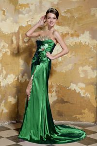 Beaded and Ruched Brush Train Prom Attire in Green with Lace Up Back