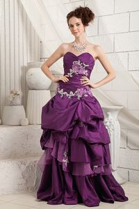 Eggplant Purple A-line Brush Train Prom Dress with Appliques in Higdon