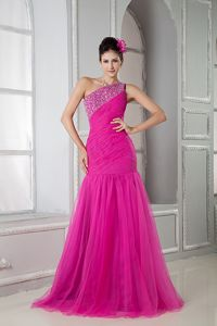 Beaded Hot Pink Mermaid Prom Dress with One Shoulder in Fort Rucker