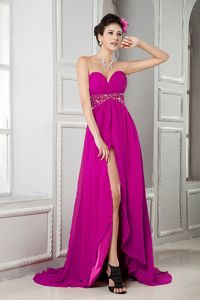 Perfect Fuchsia Empire Sweetheart Prom Dress with Brush Train and Slit