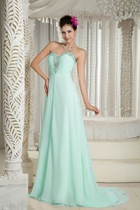 Beaded Empire Brush Train Prom Dresses in Apple Green with Sweetheart