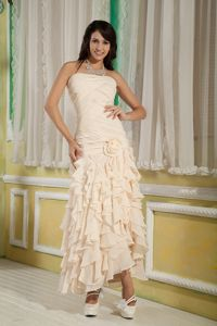 Champagne Strapless Empire Ankle-length Dresses for Prom with Ruffles