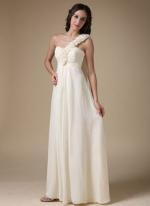 Best Ivory One Shoulder Column Prom Gown in Floor-length with Flowers