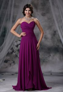 Ruched Sweetheart Empire Purple Dress for Prom with Brush Train in Leeds