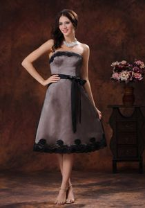 Black Strapless Column Prom Gowns in Tea-length with Sash in Homewood