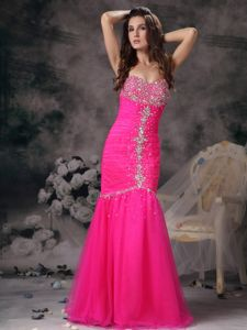 Hot Pink Mermaid Prom Dresses in Floor-length with Beading and Ruching