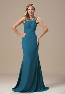 Beaded Teal Scoop Backless Mermaid Prom Dress with Brush Train in Buhl