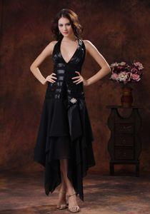 Halter Top High-low Prom Gown Dress in Black with Beading and Ruching