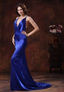 Sexy Royal Blue Halter Mermaid Prom Dresses with Brush Train in Bicknell