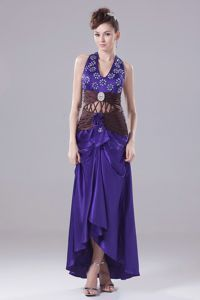 Exquisite Purple Halter Prom Dresses in Ankle-length with Beading and Sash