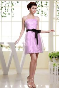 Cute Ruched Spaghetti Straps Short Pink Dress for Prom with Sash in Havre
