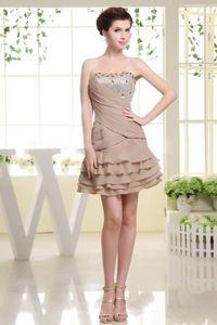 Grey Strapless Mini-length Prom Gown Dresses with Beading and Ruffles