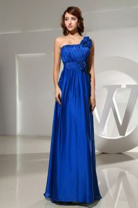 Pretty One Shoulder Ruched Blue Maxi Prom Dress with Handmade Flowers