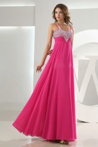 Spaghetti Straps Hot Pink Maxi Prom Dress with Beaded Bust under 150