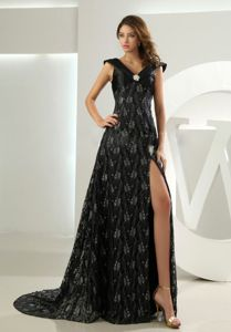 Plus Size V-neck Slitted Black Lace Prom Gown Dresses for Wholesale