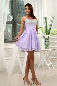 Fashionable Straps Beaded Lilac Mini-length Prom Outfits for Cocktail Party