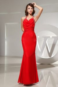 Halter Mermaid Red Formal Prom Dress for Summer with The Back Out