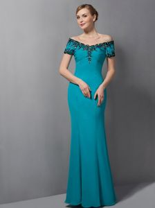 Off The Shoulder Teal Mermaid Formal Prom Dress with Black Appliques