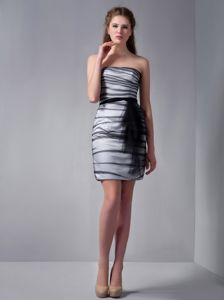 Perfect Strapless Mini-length Black and White Prom Attire for low Price