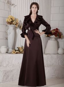Brown Formal Dress for Prom with Flounced V-neck and Long Sleeves
