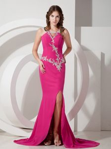 Special Design Hot Pink Mermaid Formal Prom Attire with Appliques