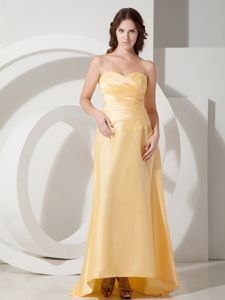 2013 New Arrival Zipper-up Ruched Gold Formal Prom Dress under 150