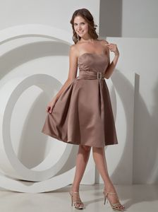 Modest Brown Lace-up Strapless Short Prom Dress in Manahawkin NJ