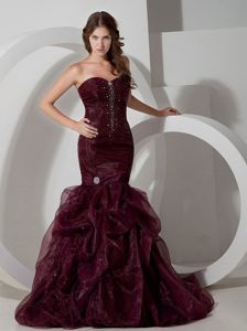 The Best Mermaid Burgundy Formal Prom Gowns in Organza with Beading