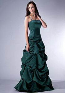 Latest Spaghetti Straps Dark Green Prom Dress for Summer with Pick-ups