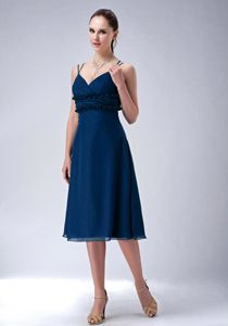 Cheap Straps Blue Tea-length Chiffon Prom Dress for Flat Chested Girls