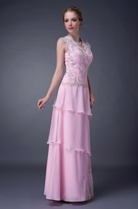Custom Made Appliqued Baby Pink Long Dress for Prom with Keyhole