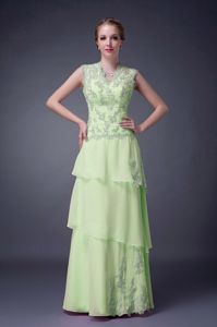 2013 New Arrival V-neck Appliqued Formal Prom Dresses in Yellow Green