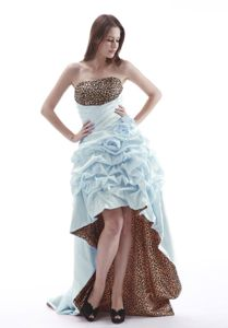 Leopard Print Strapless High-low Baby Blue Prom Dress with Pick-ups
