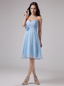 Fashionable Sweetheart Chiffon Short Prom Dress for Summer in Light Blue