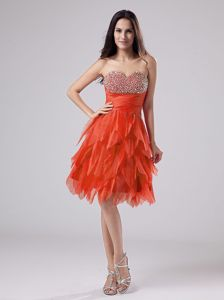 Recommended Asymmetrical Hem Rust Red Prom Dress with Beaded Bust