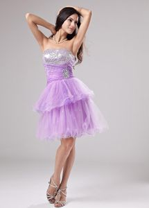 Unique Zipper-up Lavender Short Beaded Prom Dress with Layered Hem