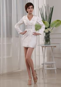 Recommended V-neck Long Sleeves Mini White Prom Dress for Cheap Price