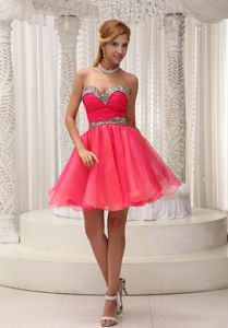 New Arrival Sweetheart Coral Red Short Prom Attire with Leopard Print