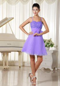 Spaghetti Straps Pleated Short Lilac Prom Dress with Bow in Marlboro NJ