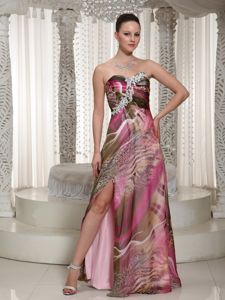 Sweetheart Colorful Printing Slitted Long Prom Dress for Juniors on Sale