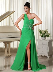 The Best One Shoulder Beaded Slitted Long Prom Dress in Spring Green