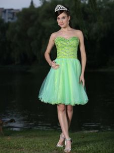 Lovely Yellow and Green Beaded Sweetheart Mini-length Junior Prom Dress