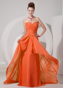 Cheap Orange Red Ruched Sweetheart Brush Train Dress for Formal Prom