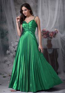 Special Green Pleated Full-length Senior Prom Dress with Straps in Saint Francis