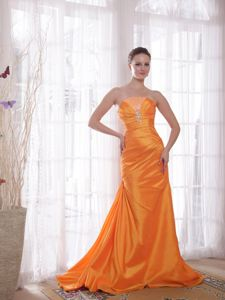 Lovely Orange Strapless Sweep Train Beaded Prom Gown Dress in Effingham