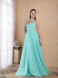 Cute Light Blue Lace-up Halter Beaded Full-length Semi-formal Prom Dress