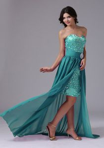 Turquoise Sweetheart High-low Semi-formal Prom Dresses with Rhinestones
