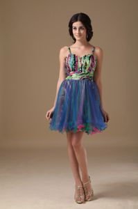 New Arrival Multi-color Beaded Mini-length Junior Prom Dresses with Straps
